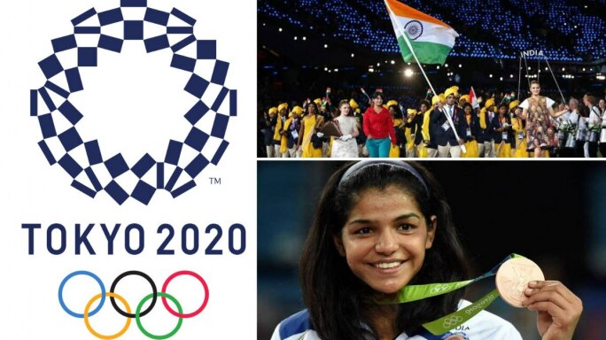 Left: The Tokyo 2020 Olympics logo. Right Top: The Indian contingent at the Rio 2016 Olympics. Right bottom: Sakshi Malik after winning the bronze medal in the 2016 Rio Olympics (Photos: Wikimedia Commons, YouTube screengrab, PTI)